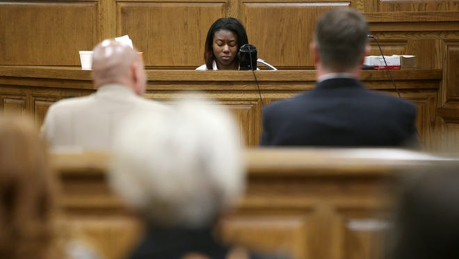 Markarious Searcy testifies during her sentencing hearing before Judge Roy Morgan at the J. Alexander Leech Criminal Justice Complex in Jackson, Tenn., on Monday, Jan. 9, 2017.