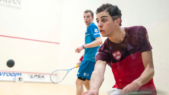 Ali Farag (Egypt), front, and Nick Matthew (England) compete in the championship match of the 2016 Motor City Open (MCO), presented by The Suburban Collection. Farag returns this year as the defending champion.