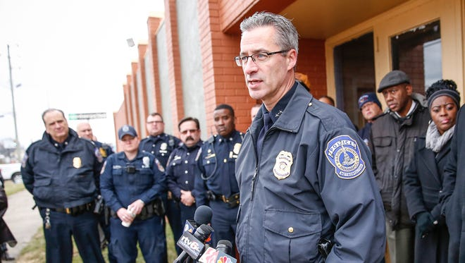"""IMPD Chief Bryan Roach speaks during a """"Call to Action"""" press conference on Tuesday, Jan. 31, in response to the killing of 14-year-old Anthony Lee Hughes, Jr."""