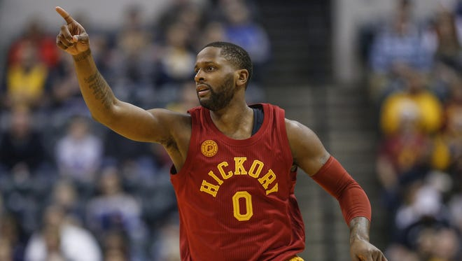 Indiana Pacers forward C.J. Miles (0) runs back to play defense after connecting on his second 3-pointer against the Sacramento Kings in the first half at Bankers Life Fieldhouse on Friday, Jan. 27, 2017.