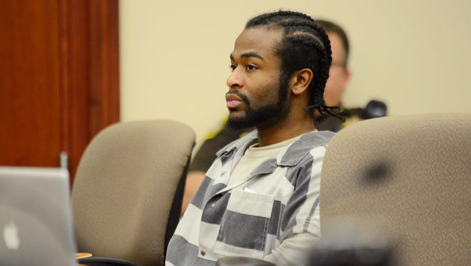 Charles Lewis Jr. appears in Ingham County Circuit Court on Tuesday, Feb. 14, 2017 for sentencing in the 2010 murder of Shayla Johnson in Lansing.