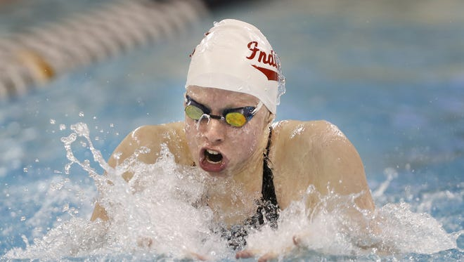 Evansville's Lilly King on her way to breaking her own U.S. record in the 100 yard breaststroke with a time of 56:30 during the 2017 Big Ten Women's Swimming and Diving Championships on Feb. 17 at Purdue University.