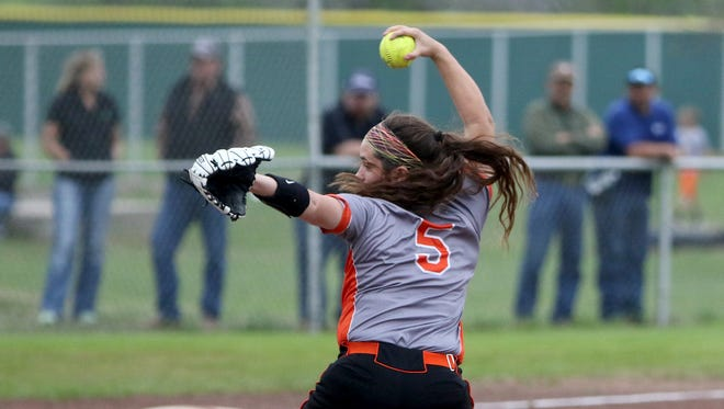 Petrolia's Lindy Alexander pitches against Archer City Tuesday, March 28, 2017, in Archer City. The Lady Pirates defeated the Lady Cats 3-2.