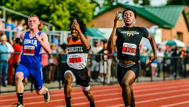 Michael Kemp (21) of Charlotte has one of the area's fastest times in the 200-meter dash.