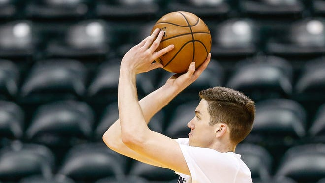 T.J. Leaf is settling in after his first summer league game. Here, he shoots during a workout for the Indiana Pacers at Bankers Life Fieldhouse on Tuesday, May 23, 2017.