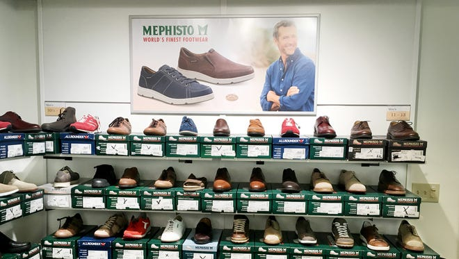The men's Mephisto Footwear covers two walls in the new outlet in Franklin.