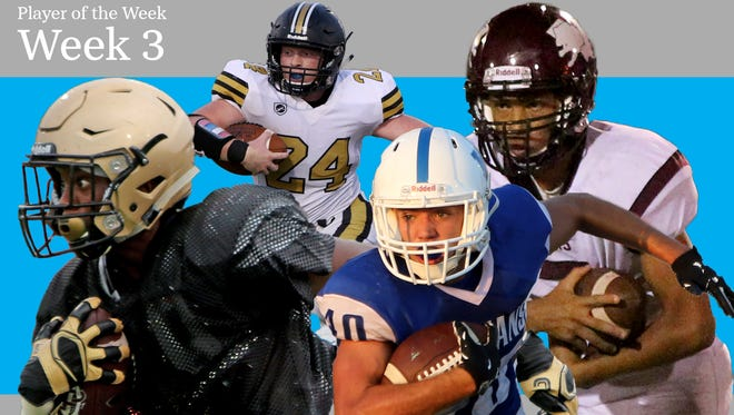 Week 3 Illustration of the TRN Sports Player of the Week nominees of Rider's Brandon Bolton, Henrietta's Zack West, Windthorst's Koy Pennartz and Vernon's Chad Thomas. Not pictured is Crowell's Skyler Hayes.