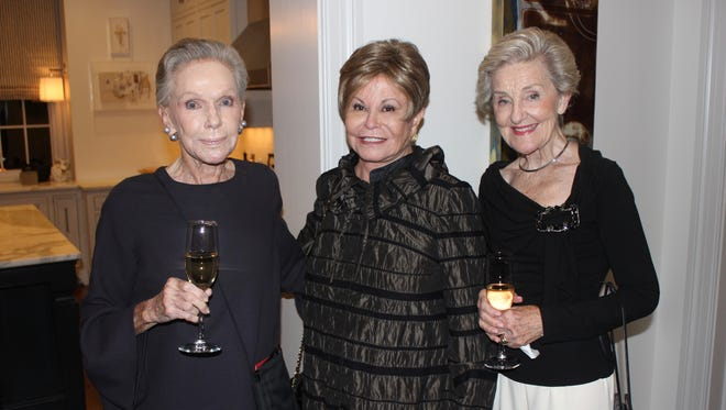 Clare Armistead, Colleen Conway-Welch and Barbara Daane at the 2018 Symphony Fashion Show Kickoff at the home of Cynthia and Dave Arnholt.