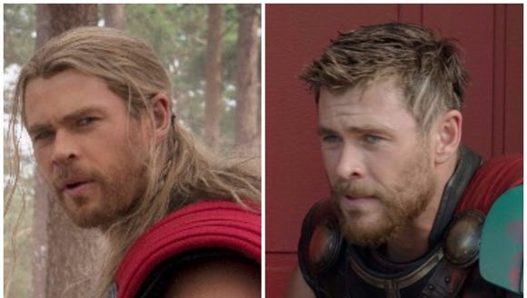 Here's what Thor looks like before and after his haircut
