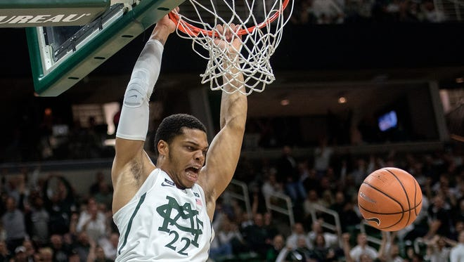 Michigan State's Miles Bridges dunks during the first half of the Spartans' game against Notre Dame on Thursday, Nov. 30, 2017, at the Breslin Center.
