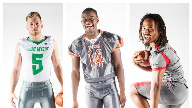 The News-Press All-Area Football Defensive Player of the Year finalists are (from left) Jordan Weatherbee, Rocky Jacques-Louis and Fa'najae Gotay.