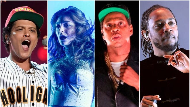 Bruno Mars, Lorde, Jay-Z and Kendrick Lamar are all nominated for record of the year. So, let's hear podcasts about them!