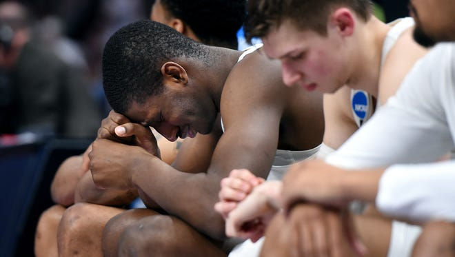 Michigan State's Jaren Jackson Jr. reacts on the bench late during the second half on Sunday, March 18, 2018, at the Little Caesars Arena in Detroit. Syracuse beat Michigan State 55-53.