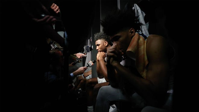 Kentucky players' emotions were shown as the media asked questions after Kansas State beat Kentucky 61-58 in Thursday night's Sweet Sixteen game in Atlanta. March 22, 2018.