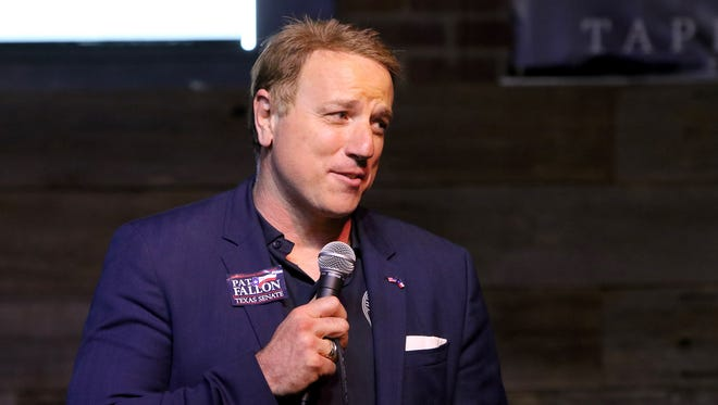 State Rep. Pat Fallon gives a speech to a crowd of supporters Thursday, April 12, 2018, at Half Pint Taproom & Restoration Hall in Wichita Falls. Fallon defeated Sen. Craig Estes in the Senate District 30 Republican primary March 6. In the General Election Nov. 6 Fallon will face Democrat Kevin Lopez of Bridgeport.