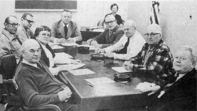 History was made in April 1978 when Ione VanPrice, second from front on the left side of the table, took her seat as the first woman on the Algoma City Council in almost 100 years. At the table with the new 3rd Ward representative are Marvin Krause, new 4th Ward Ald. Lawrence Zettle, Marcus Gruendemann, Mayor Jim Pfile, Warren Maedke, Robert Braun, George Rutz and Rufus Entringer. Clerk Beattie is in the background. It would take nearly 50 more years until a woman would run for U.S. president.  The photo comes from the Heidmann Collection at Algoma Public Library.