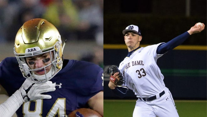 Cole Kmet played baseball and football for Notre Dame during his freshman season.