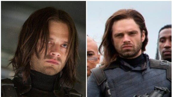 """Left: Winter Soldier in 2014's """"Captain America: The"""