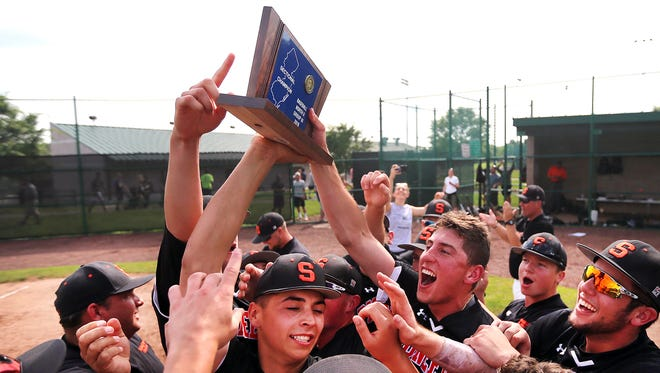 Somerville celebrates its victory over Colonia in the North 2 Group III sectional final on Friday, June 1, 2018.