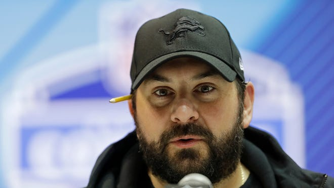 Detroit Lions coach Matt Patricia speaks during a press conference at the NFL combine Feb. 28, 2018 in Indianapolis.