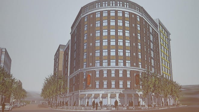 An image of the front facade of the new structure proposed to replace the Trebloc Building on the State Street Triangle.