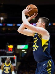 FILE – T.J. Leaf has struggled with his 3-point shot