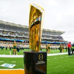 Oct 11, 2014; Waco, TX, USA; A view of the college football playoff national championship trophy before the game between the Baylor Bears and the TCU Horned Frogs at McLane Stadium. The Bears defeat Horned Frogs 61-58. Mandatory Credit: Jerome Miron-USA TODAY Sports