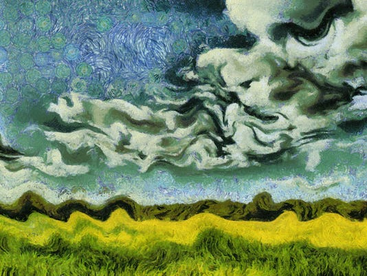 Van Gogh style painting green summer meadow landscape