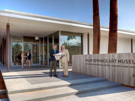 Curator of architecture and design Sidney Williams (from left); named donor of the Bradford W. Bates Vault: Museum Design Store Bradford Bates; executive director Steven Nash; chairman of the board of trustees Harold Meyerman, , photographed for Desert Magazine by David Blank, davidblankphoto.com.