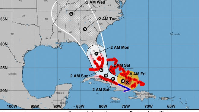 Forecast cone of Hurricane Irma as of 8 a.m. on Wednesday, Sept. 8, 2017.