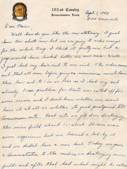 A letter from Bud Irish dated September 1943, while