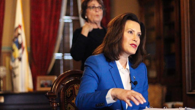 Gov. Gretchen Whitmer tells Michigan residents to stay at home Monday, in her most sweeping order of the coronavirus crisis, in Lansing, Mich.