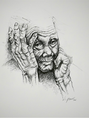 "A pen-and-ink portrait of an elderly woman from ""See Me, Hear Me, I Am Human"" at Askew Nixon Ferguson Architects."