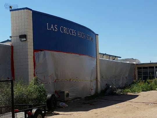The former entrance to Las Cruces High School is set