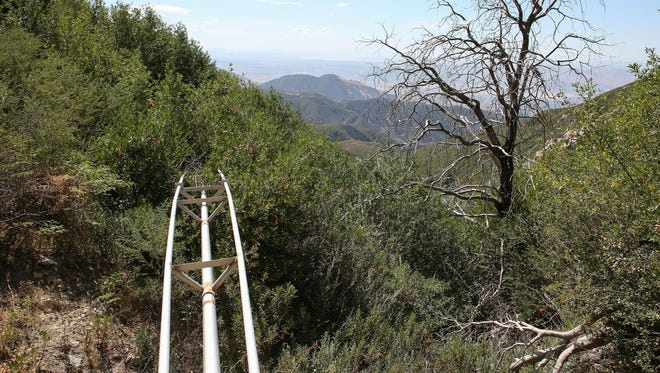A pipeline runs downhill from one of Nestle's water collection tunnels in the San Bernardino National Forest.