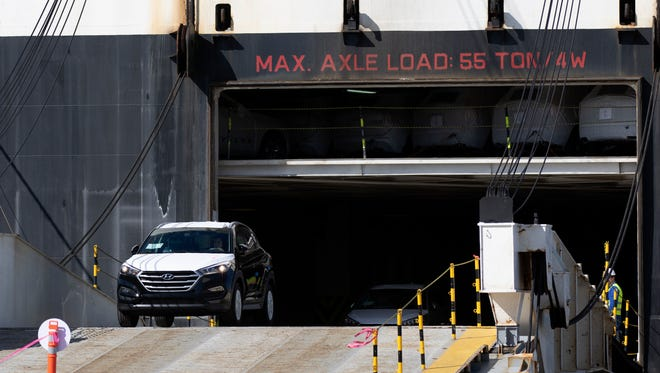 Hyundai vehicles are seen being unloaded from a cargo ship docked at the Port of Hueneme in this file photo. The port is planning to use a 34-acre property in Oxnard to process vehicles before they are moved to a dealership.