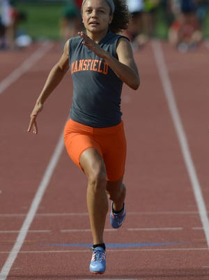 Mansfield Senior's Alaysia Grose competes in Friday's 100 meter dash prelims at the state track meet. Grose has qualified for the finals in that race and the 4x100 relay.
