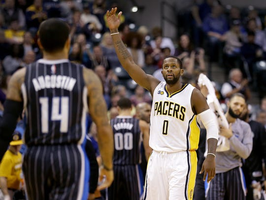 Indiana Pacers forward C.J. Miles (0) celebrates a Pacers play in the first half of their game Monday, November 14, 2016, evening at Bankers Life Fieldhouse. The Pacers defeated the Orlando Magic 88-69.