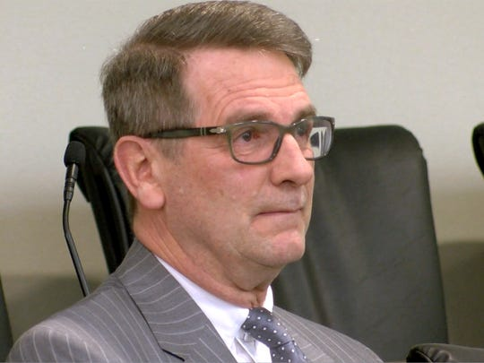 Former Monmouth County municipal judge Richard B. Thompson sits in the jury box in Superior Court Thursday, March 22, 2018, before he was accepted into the pretrial intervention program.  He had pled guilty to charges that he falsified records as part of a five-year ticket-fixing scheme that funneled more than $500,000 to the municipalities that employed him.