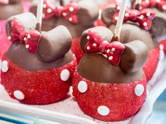 Disney Minnie Mouse chocolate dipped apples