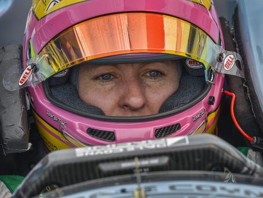 Dale Coyne Racing IndyCar driver Pippa Mann (63) during