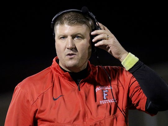 Fairfield head coach Jason Krause  during the  Indians