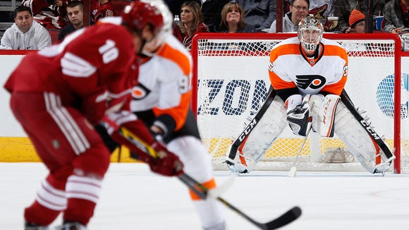 Goalie Steve Mason is expected to make his first start of the season Saturday in Arizona.