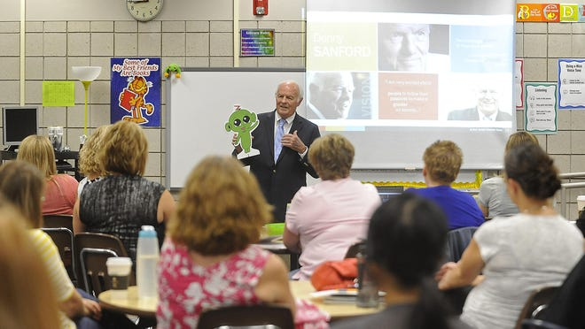 Billionaire philanthropist T. Denny Sanford visited Terry Redlin Elementary School on Tuesday to talk about the Sanford Harmony Program. The program targets children in preK-6 and aims to improve social interactions between boys and girls with the help of the fictional character Z, a little green alien. The Harmony curriculum will be rolled out in Sioux Falls School District preschool programs this fall for about 1,000 children.