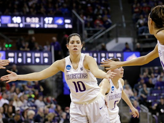 Washington's Kelsey Plum is congratulated after hitting a free throw against Montana State during the first half of a first-round game in the NCAA women's college basketball tournament Saturday, March 18, 2017, in Seattle. (AP Photo/Elaine Thompson)
