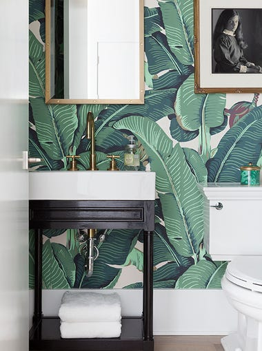 Wallpaper in the powder room was inspired by the Beverly