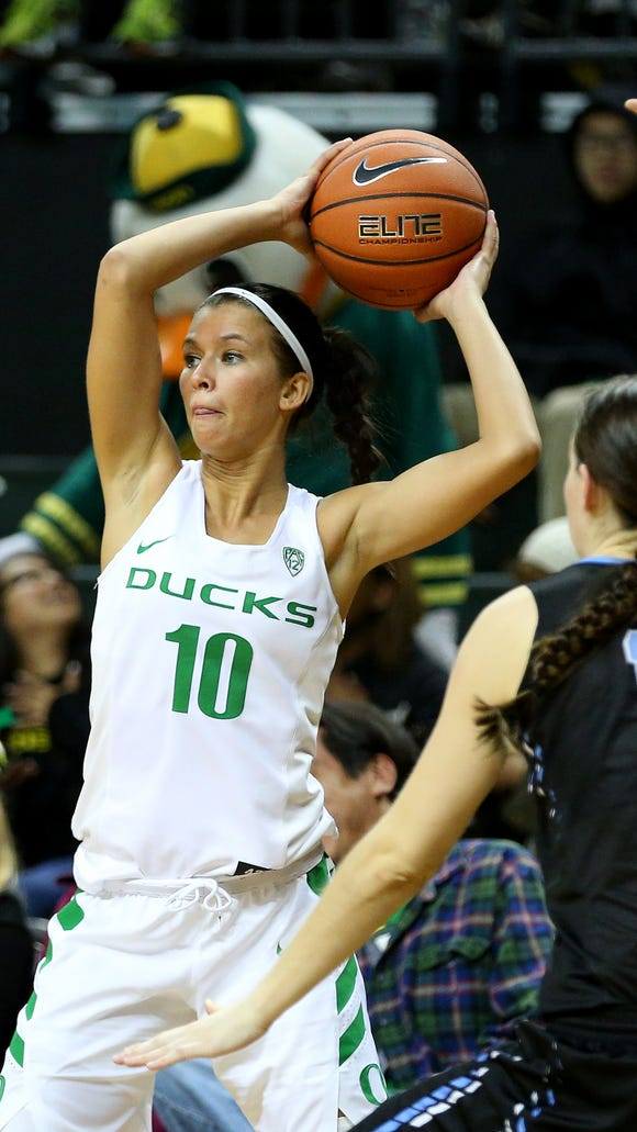 Oregon guard Lexi Bando (10) passes the ball against Warner Pacific during an exhibition game inside Matthew Knight Arena, Wednesday, November 11, 2015, at the University of Oregon in Eugene, Ore.