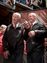 Mark Howe with his late father Gordie Howe at Joe Louis Arena.