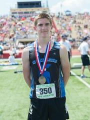McConnellsburg's Josh Booth placed 5th in the boys AA 300 hurdles at the PIAA Track & Field Championships with a time of 39.77.