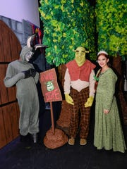 "Actors Alonzo Jackson, Gary Williams and Giada Marchitto from Renaissance Charter School of St. Lucie's performance of ""Shrek, the Musical"" at Stuart's Lyric Theatre."